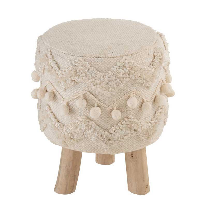Tabouret à motifs ethnique Tissu crème - TWIGO
