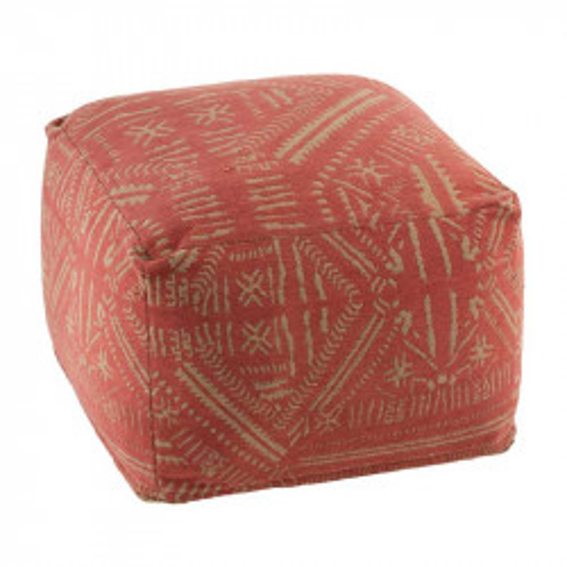 Pouf à motifs ethnique Tissu terracotta/beige - CORFOU