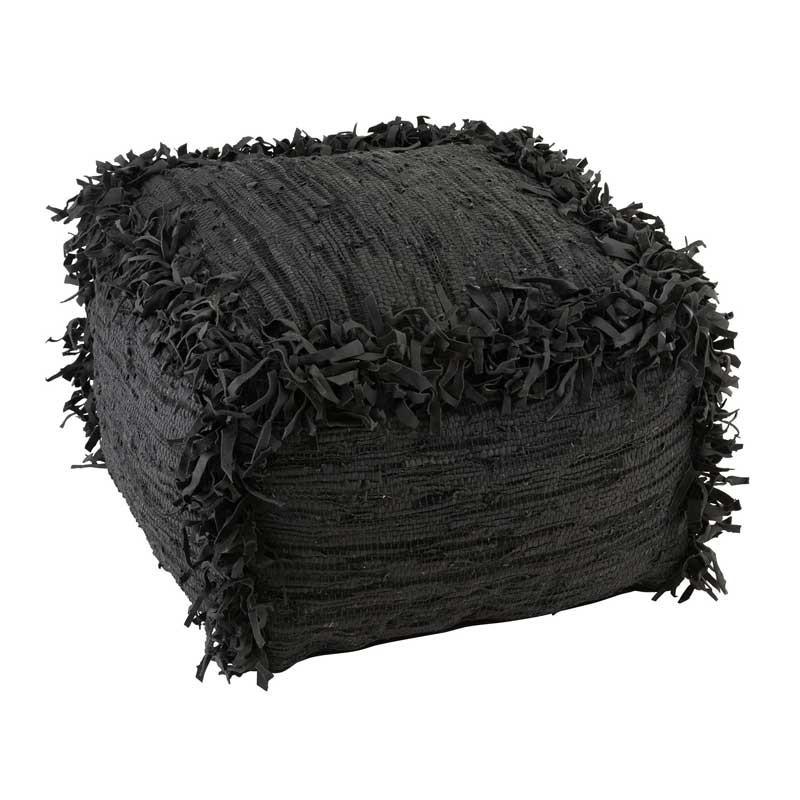 Pouf à franges Cuir noir - TWIGO