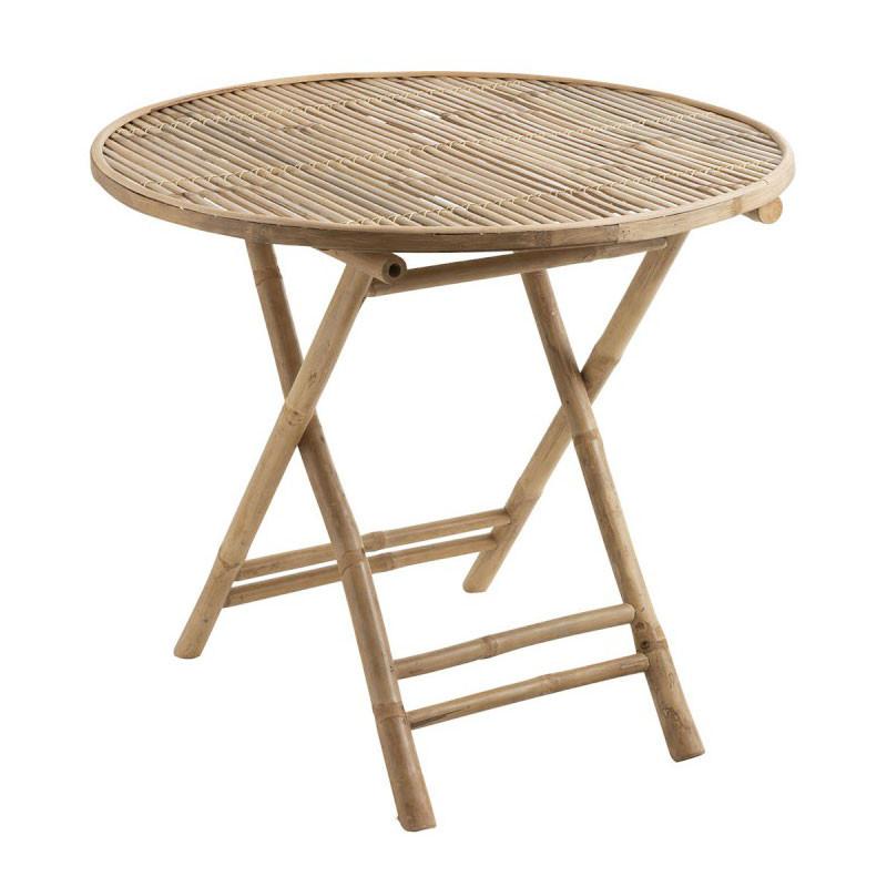 Table ronde pliable d'extérieur Bambou naturel - LIVIA