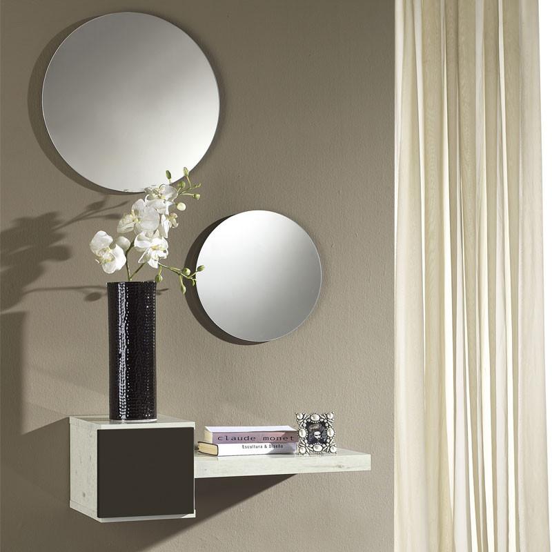 Meuble d'entrée Marbre blanc/Laque marron foncé + miroir - TIGA