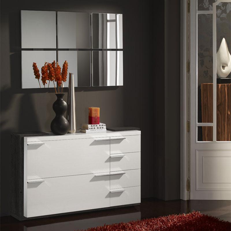Meuble d'entrée Blanc/Bois noir + miroirs - KIMISTIL