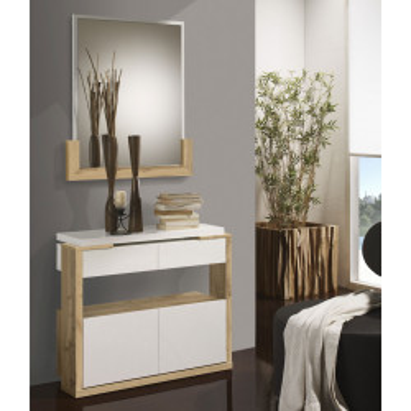 Meuble d'entrée Bois blanc/Chêne blond + miroir - JUNGO