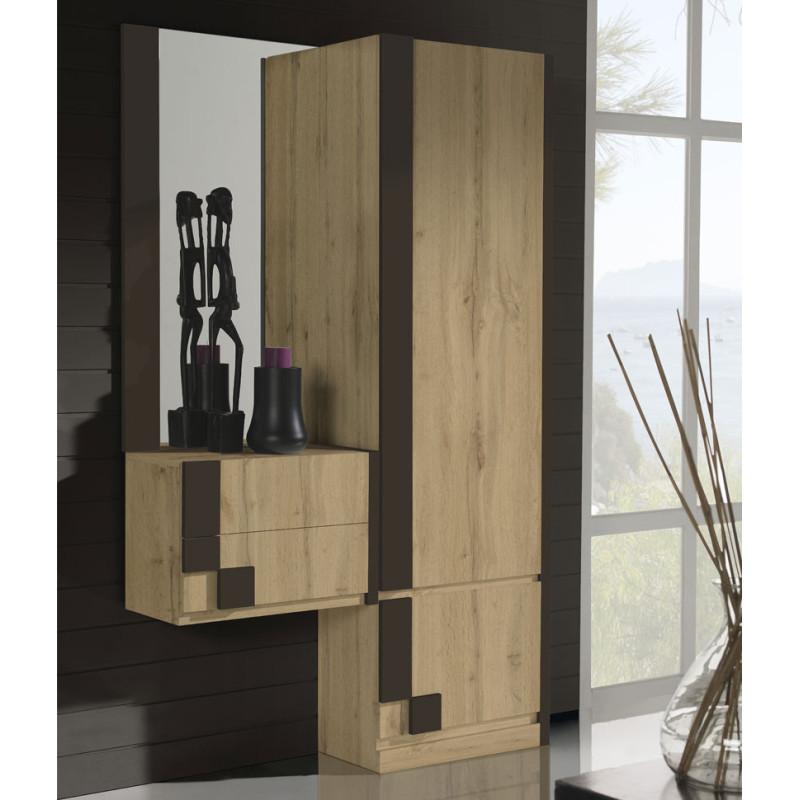 Meuble d'entrée + armoire + miroir Chêne blond/Laque marron -  PAOULA