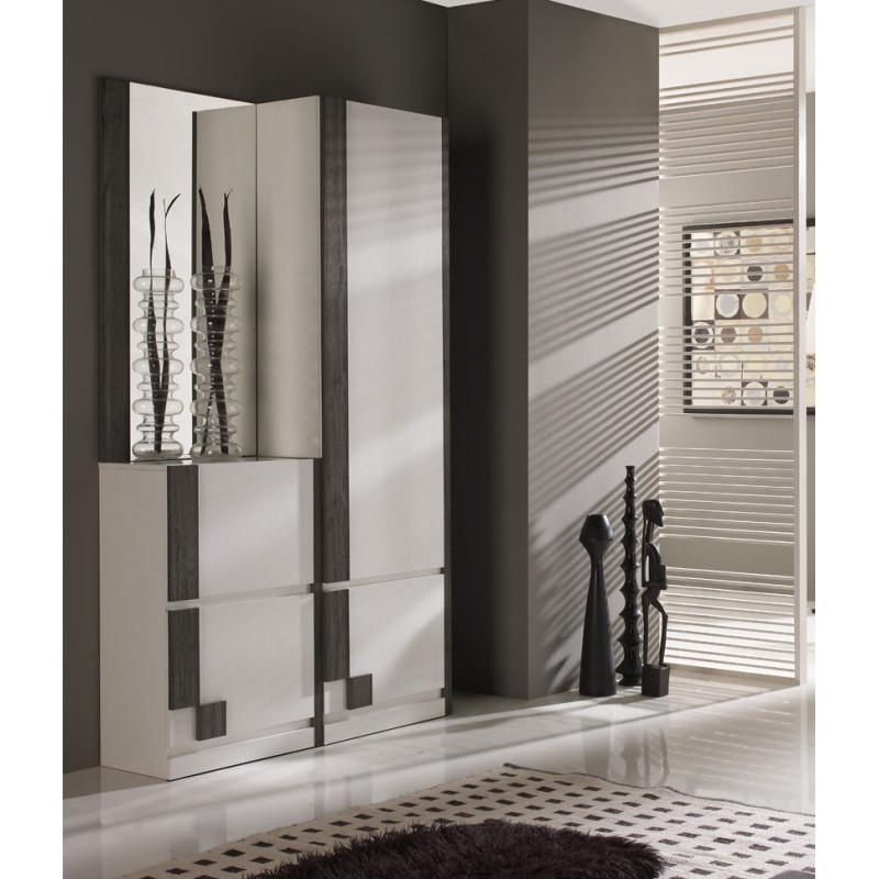 Meuble d'entrée Blanc/Bois noir + armoire + miroir - SLIMAN