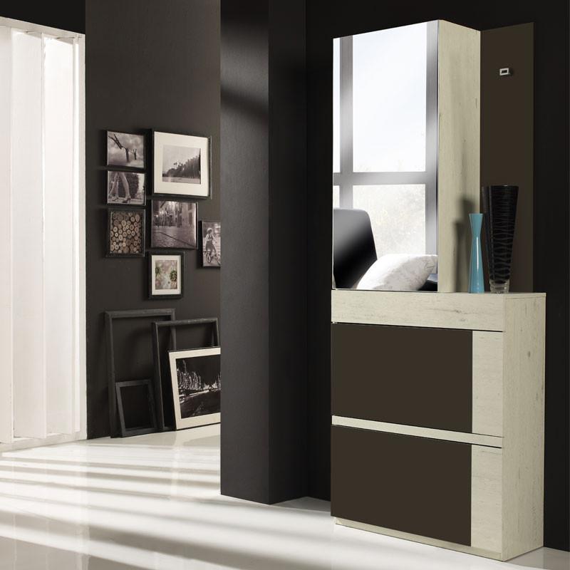 Meuble d'entrée Bois blanchi/Laque marron + armoire - TALITA
