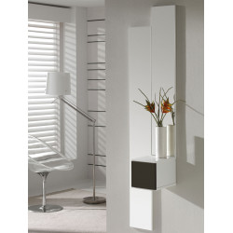 Meuble d'entrée Blanc/Laque marron + miroir - SIRRA