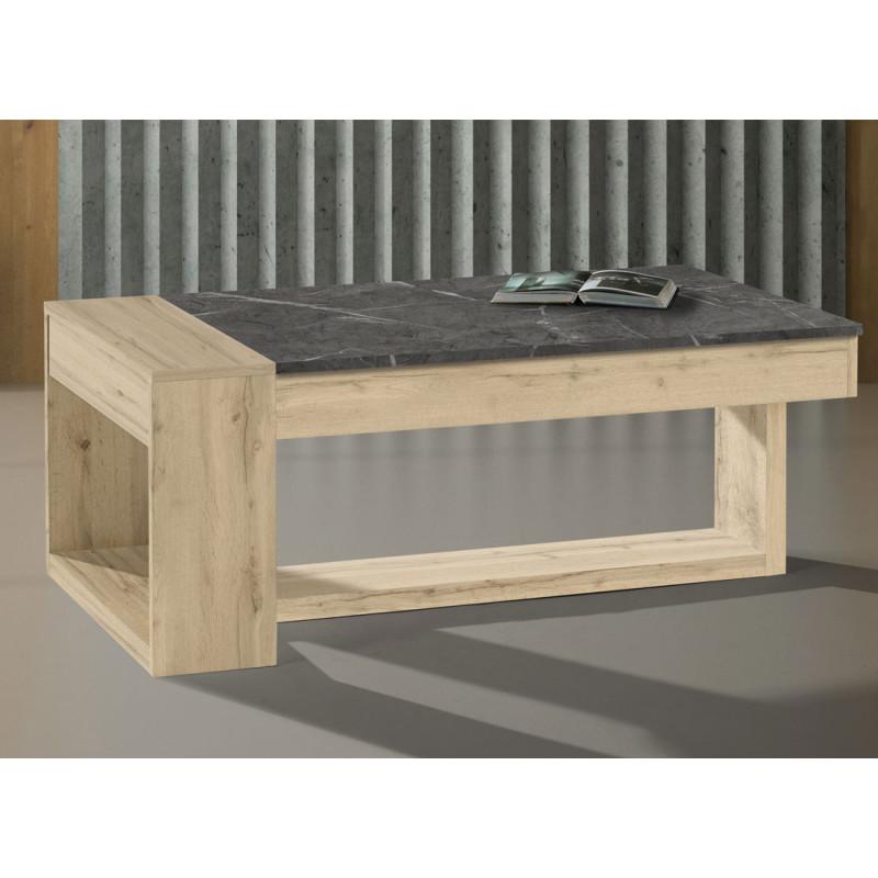 Table basse relevable Chêne blond/Marbre gris - ESTEBAN