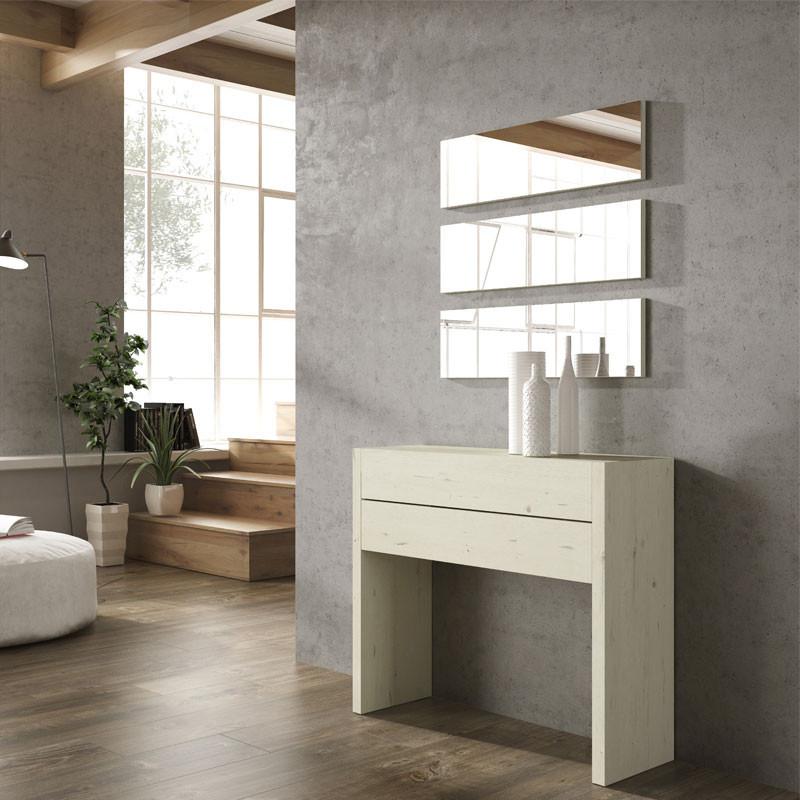 Meuble d'entrée Bois blanchi + miroirs - NOSILA