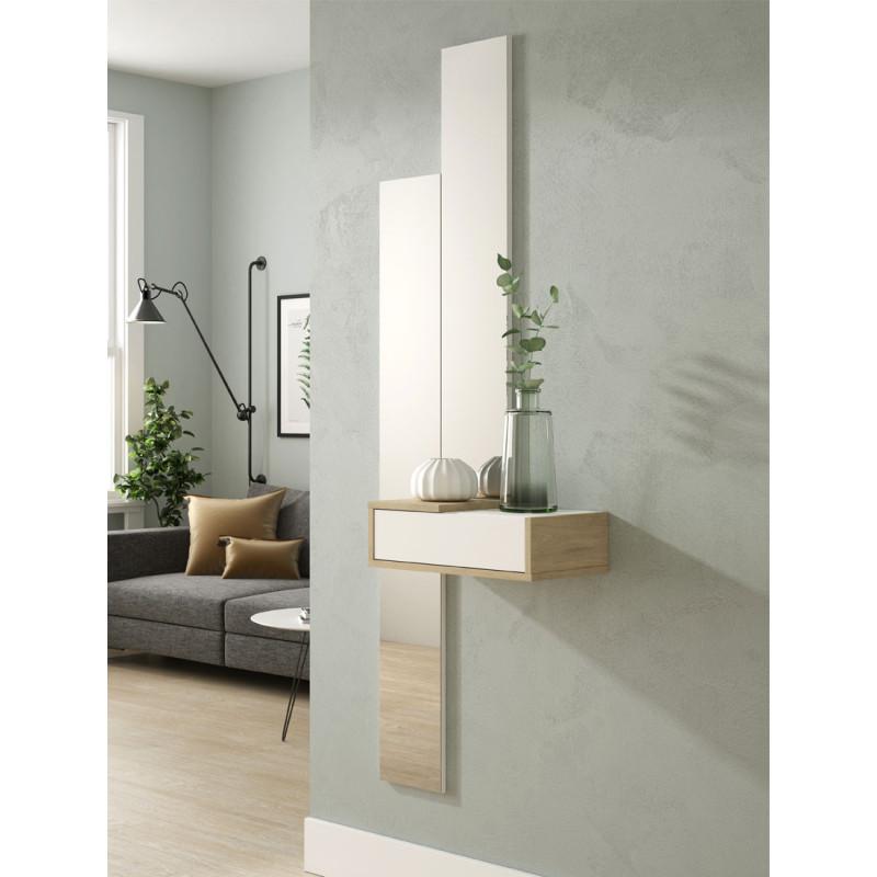 Meuble d'entrée Bois blanc/Chêne blond + miroir - NYLA