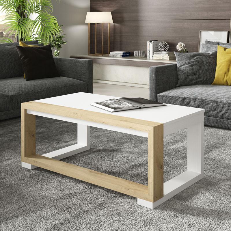 Table basse relevable Bois blanc/Chêne blond - UPTU