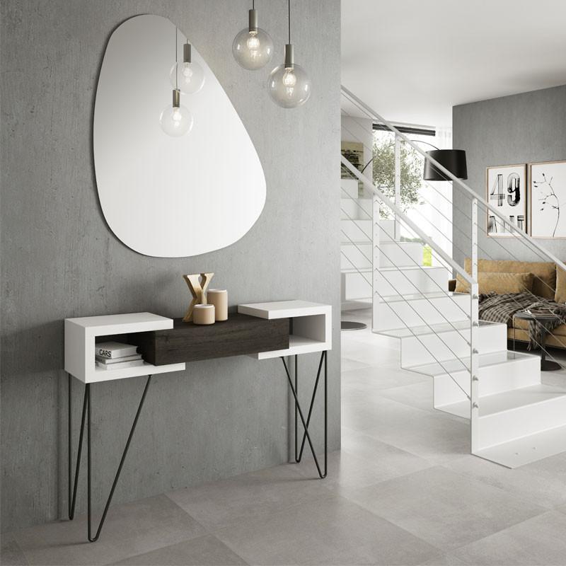 Console + miroir Bois blanc/Bois noir - SOLDIA