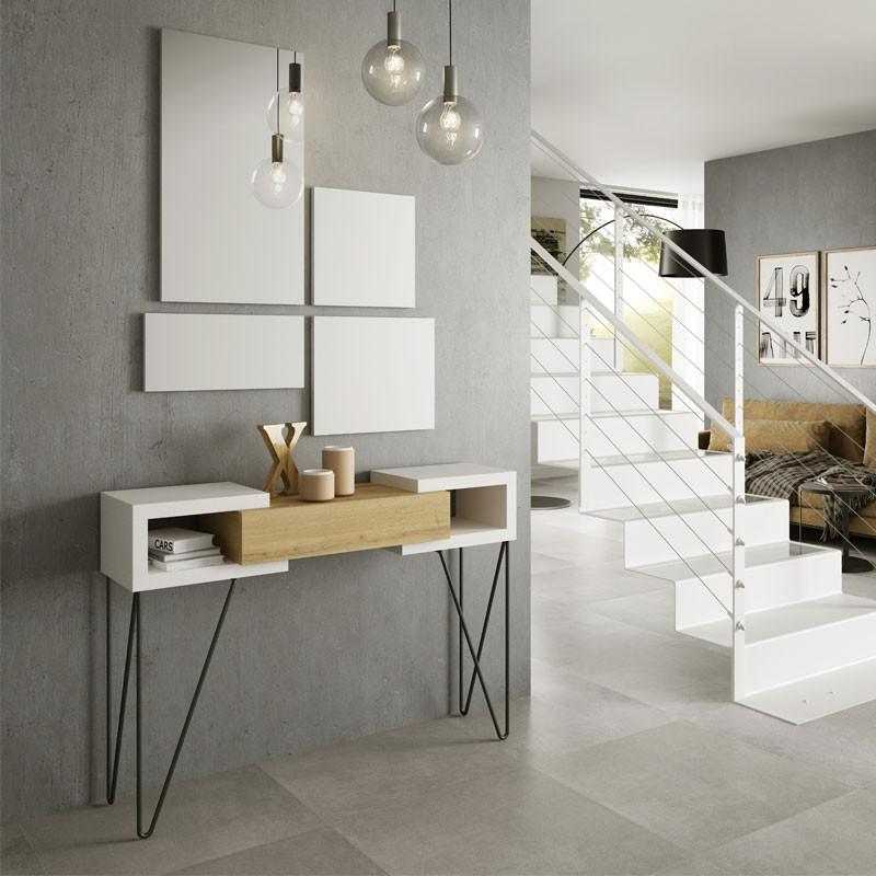 Console + miroir Bois blanc/Chêne blond - SOLDIA