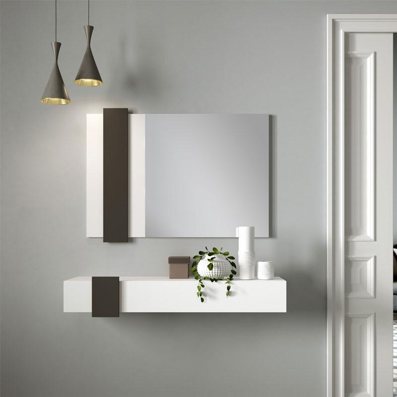 Meuble d'entrée Bois blanc/Laque marron foncé + miroir - NIGHTA