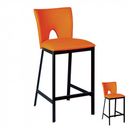 Duo de Tabourets de bar Simili cuir Orange/Acier noir - LOBO