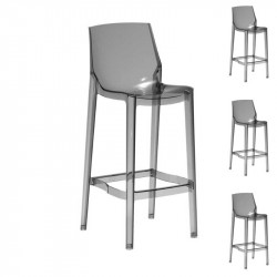 Quatuor de Chaises de bar Transparent fumé - MONZY