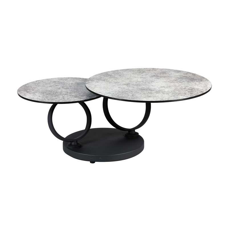 Table basse articulée Métal/Verre céramique gris - VERRO