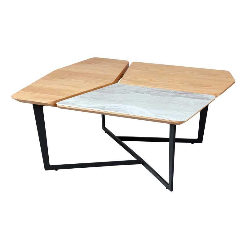 Table basse carrée Métal/Bois/Céramique - TOCSA