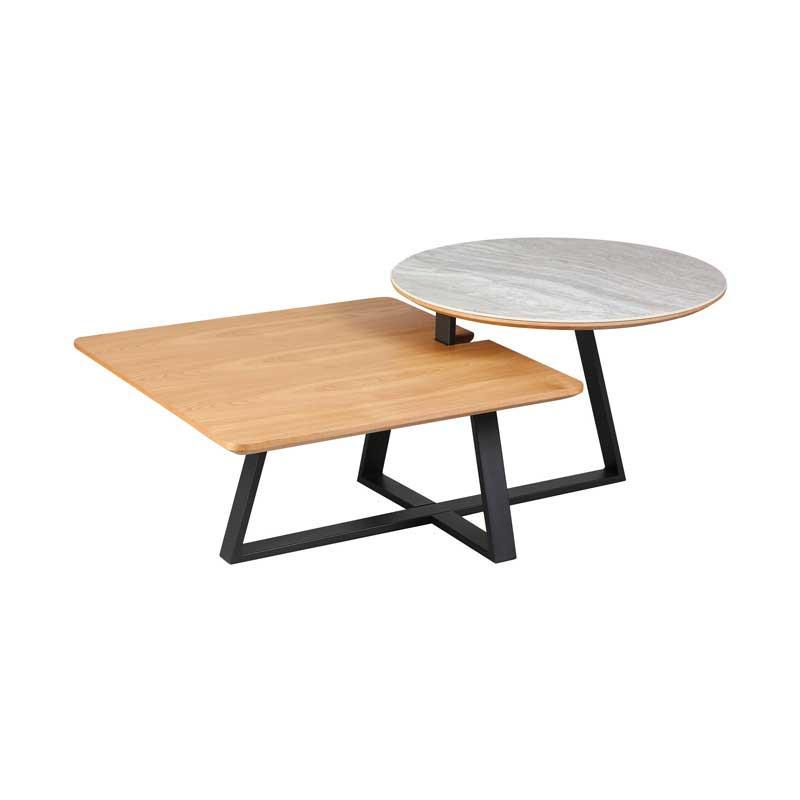 Table basse 2 plateaux Métal/Bois/Céramique - TOCSA