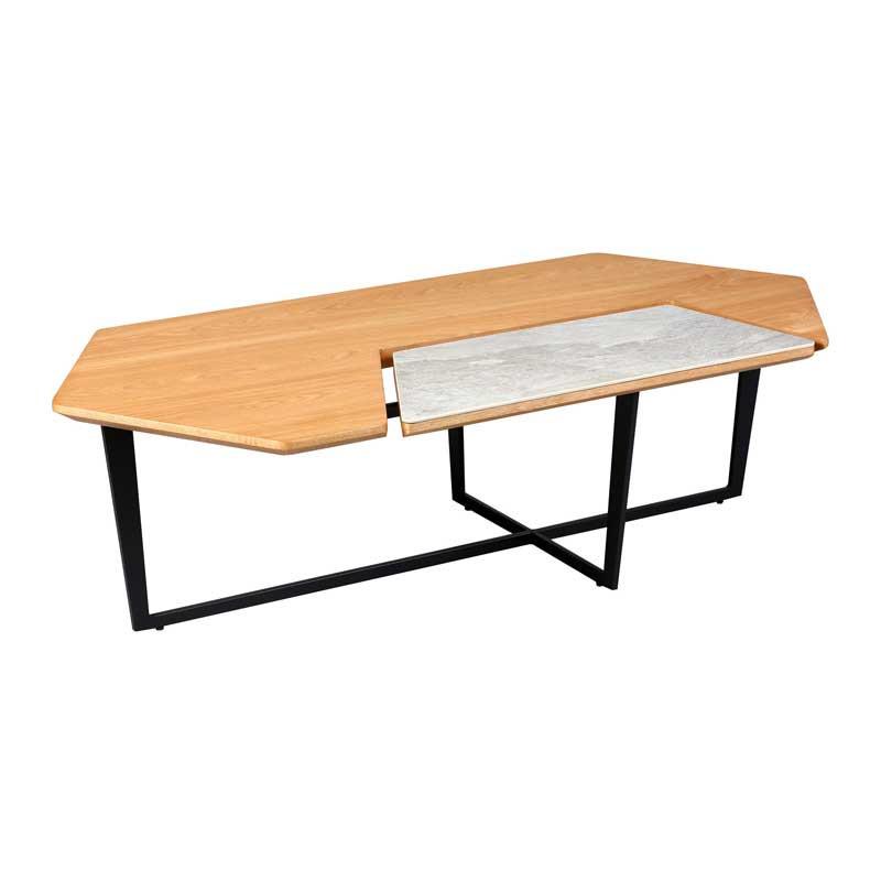 Table basse hexagonale Métal/Bois/Céramique - TOCSA