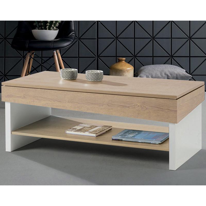 Table basse relevable Chêne blond/Bois blanc - BERLIOSE