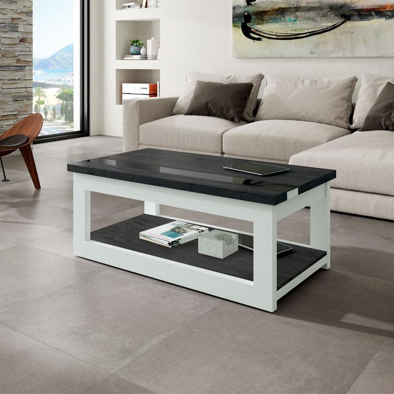 Table basse relevable Bois blanc/Bois noir - UPTI