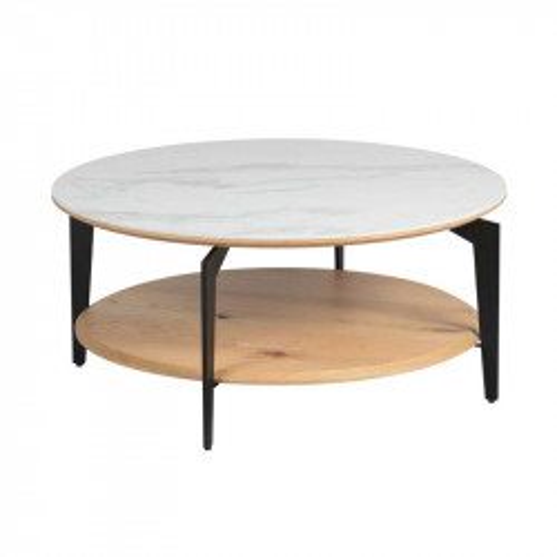 Table basse ronde Acier/Bois/Céramique - TOCSA