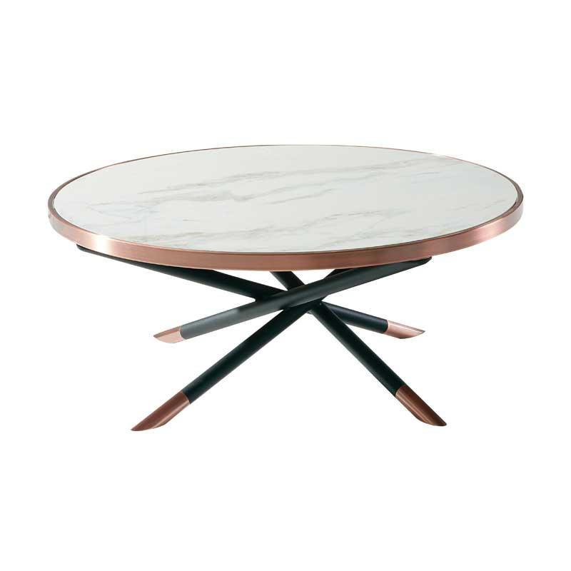 Table basse ronde Céramique/Acier cuivre - NASHVILLE