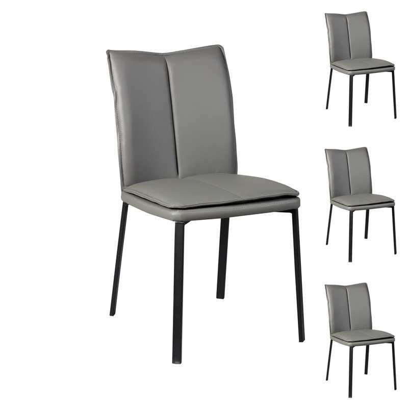 Quatuor de Chaises Simili cuir gris - TUCSON
