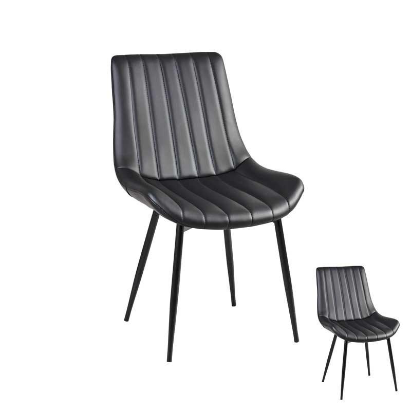Duo de Chaises Simili cuir noir - TUCSON