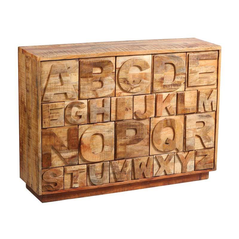 Commode à tiroirs alphabet Bois massif - CHALERSTON