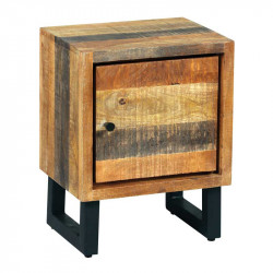 Table de chevet 1 porte Bois massif blanchi - CHALERSTON