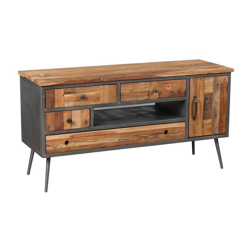 Meuble TV 4 tiroirs 1 porte Bois massif - CHALERSTON
