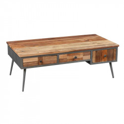 Table basse 3 tiroirs Bois massif patchwork - CHALERSTON