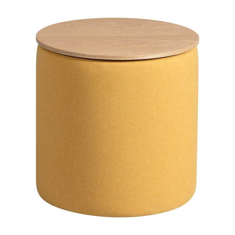 Pouf coffre Tissu jaune - MORELIA