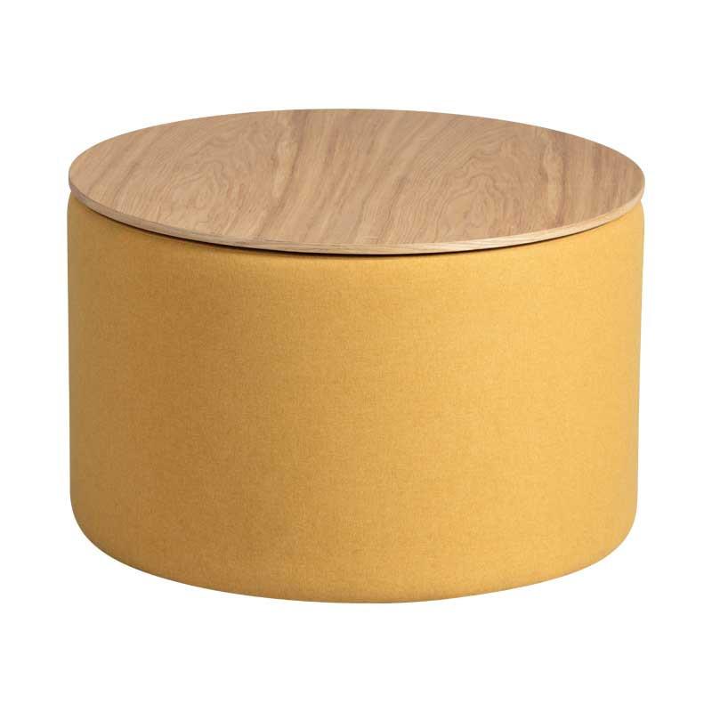 Bout de canapé coffre Tissu jaune - MORELIA