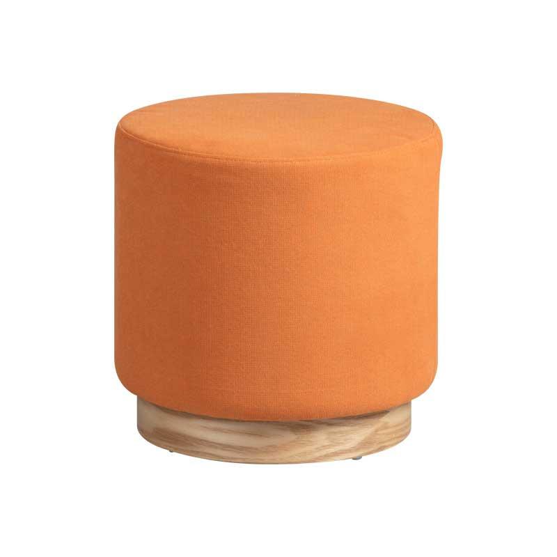 Pouf Bois/Tissu orange taille S - MORELIA