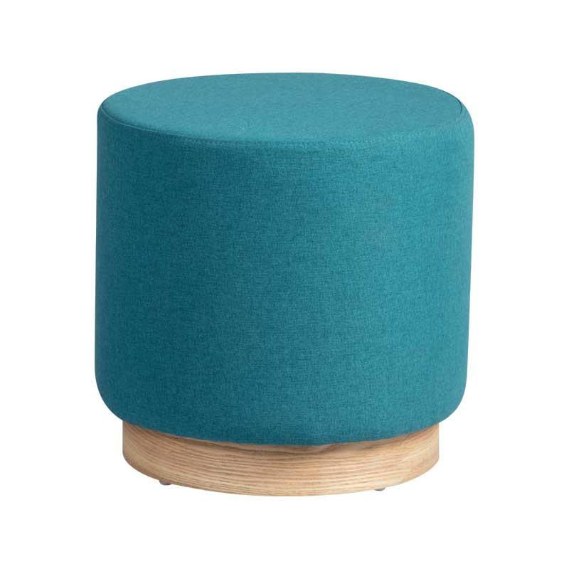 Pouf Bois/Tissu bleu taille S - MORELIA