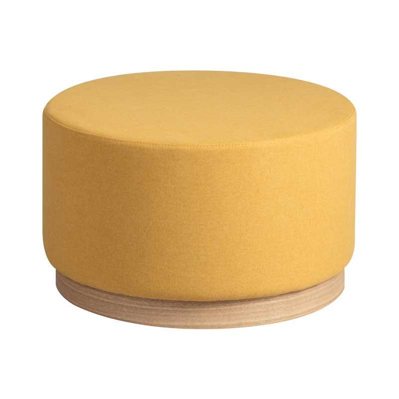 Pouf Bois/Tissu jaune taille M - MORELIA