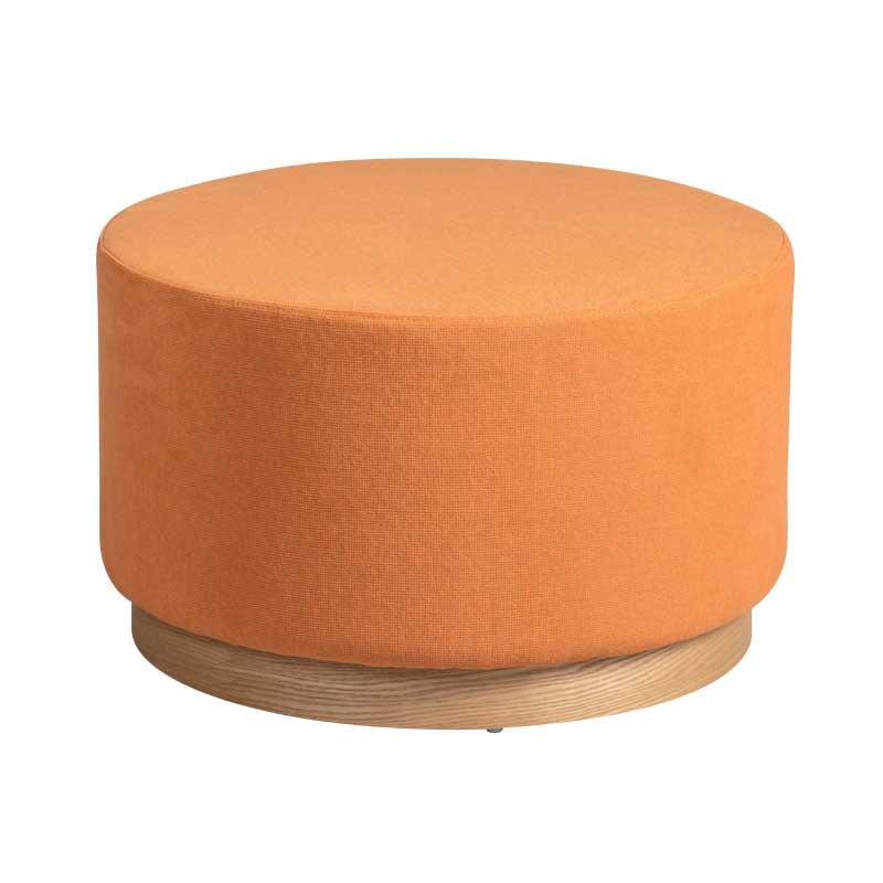 Pouf Bois/Tissu orange taille M - MORELIA
