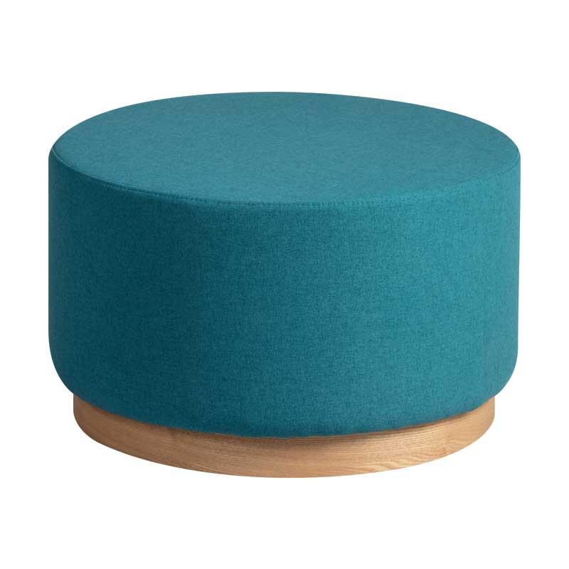 Pouf Bois/Tissu bleu taille M - MORELIA