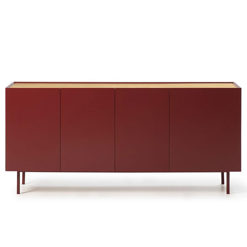 Buffet 4 portes 3 tiroirs Rouge/Chêne - MELYS