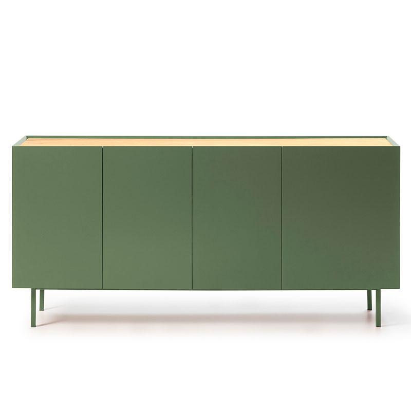 Buffet 4 portes 3 tiroirs Vert/Chêne - MELYS
