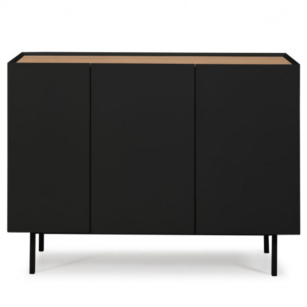 Buffet 3 portes 3 tiroirs Noir/Chêne - MELYS