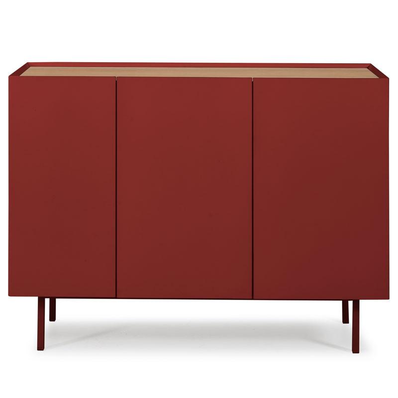 Buffet 3 portes 3 tiroirs Rouge/Chêne - MELYS