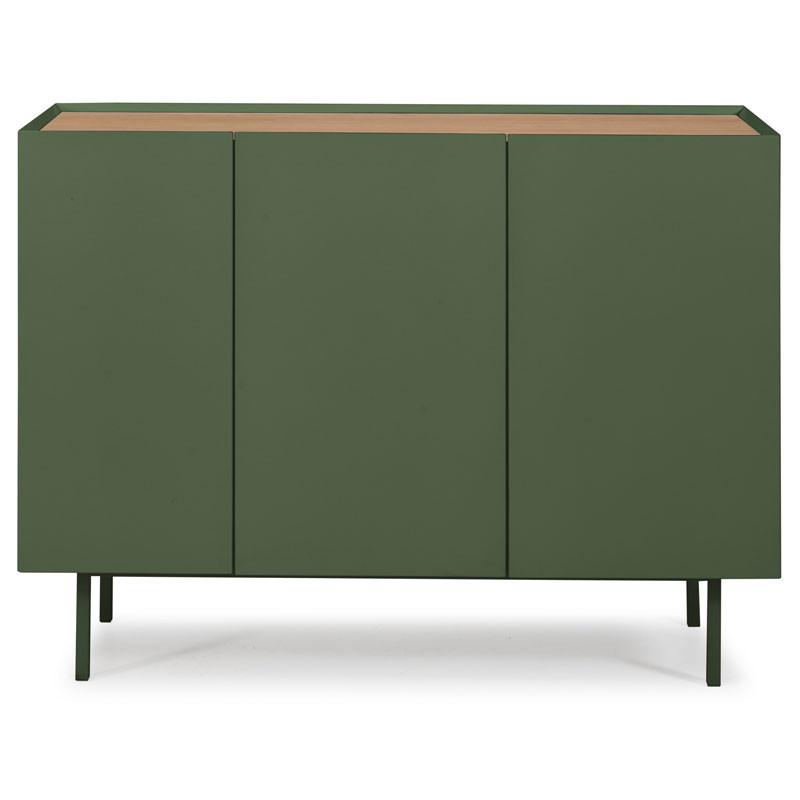 Buffet 3 portes 3 tiroirs Vert/Chêne - MELYS