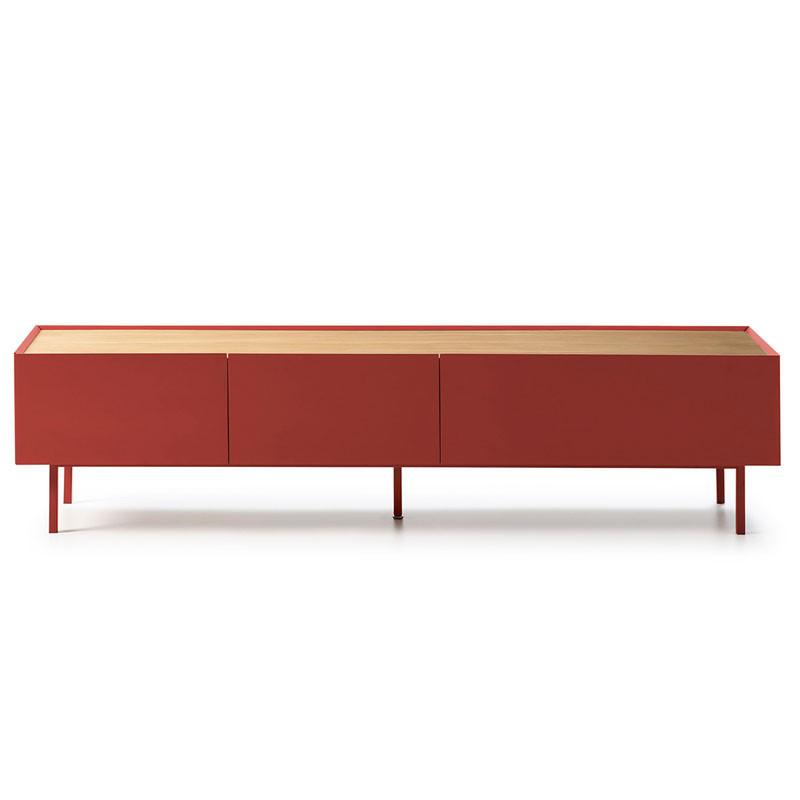 Meuble TV 2 tiroirs 1 abattant Rouge/Chêne - MELYS