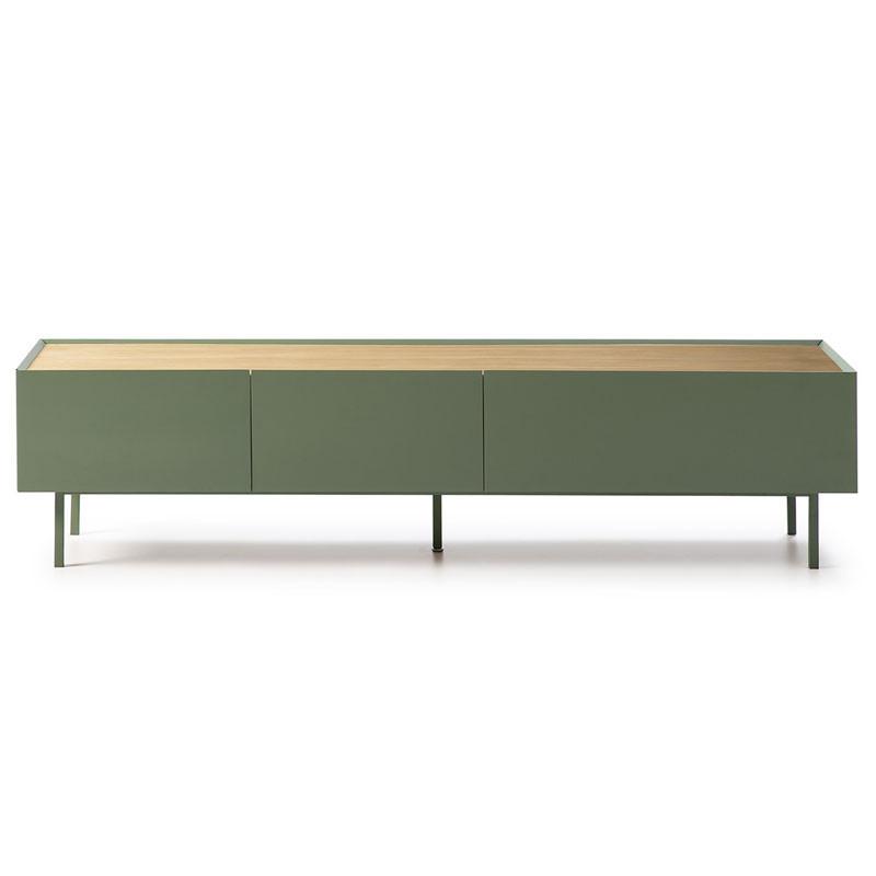 Meuble TV 2 tiroirs 1 abattant Vert/Chêne - MELYS