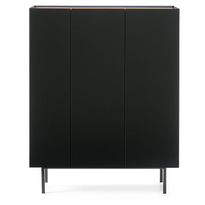 Meuble bar 3 portes Noir/Chêne - MELYS