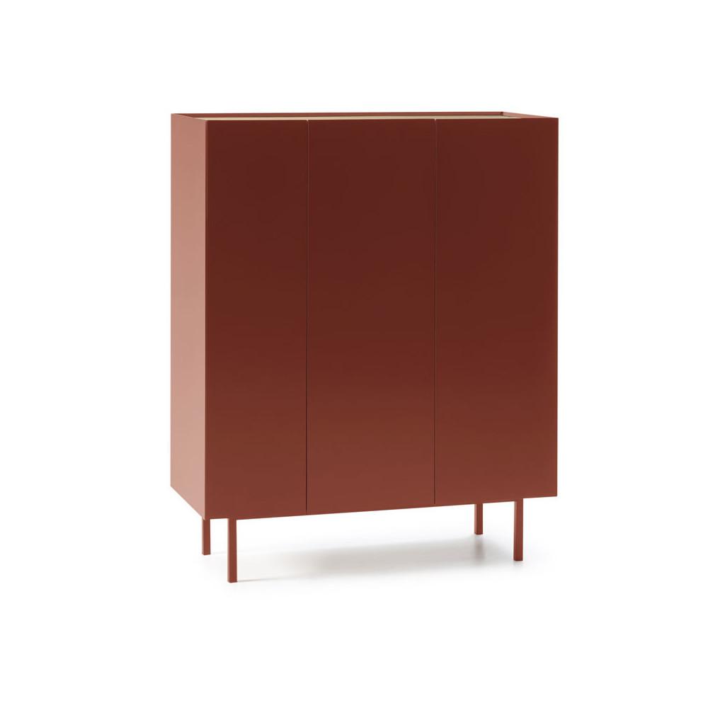 Meuble bar 3 portes Rouge/Chêne - MELYS